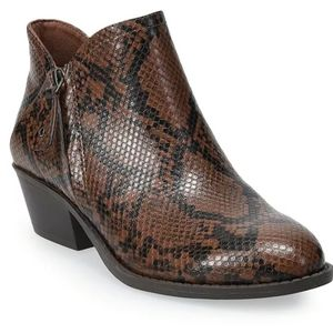 Brown faux snake skin ankle boot bootie shoes